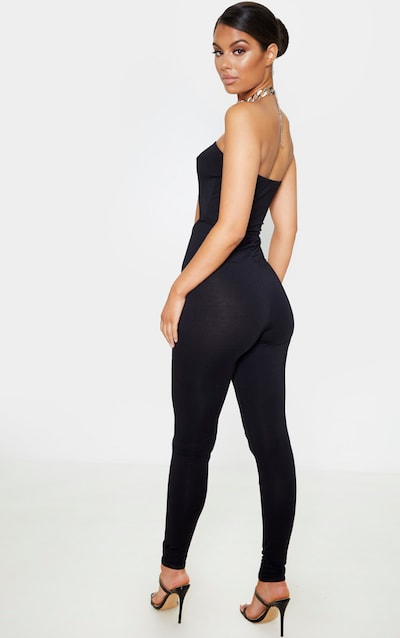 Black Bandeau Cut Out Jumpsuit