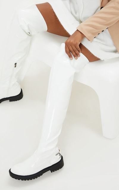 White Cleated Flat Over The Knee Boot