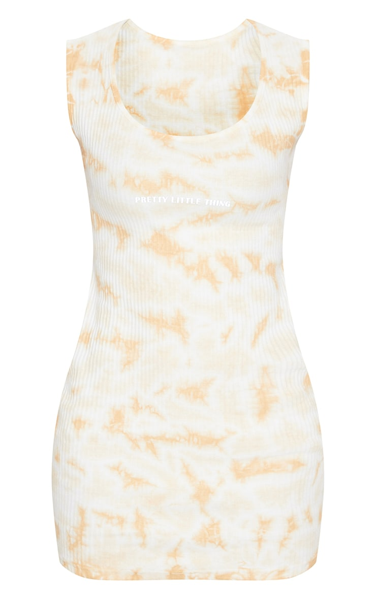 PRETTYLITTLETHING Tan Reflective Thick Rib Tie Dye Bodycon Dress 3