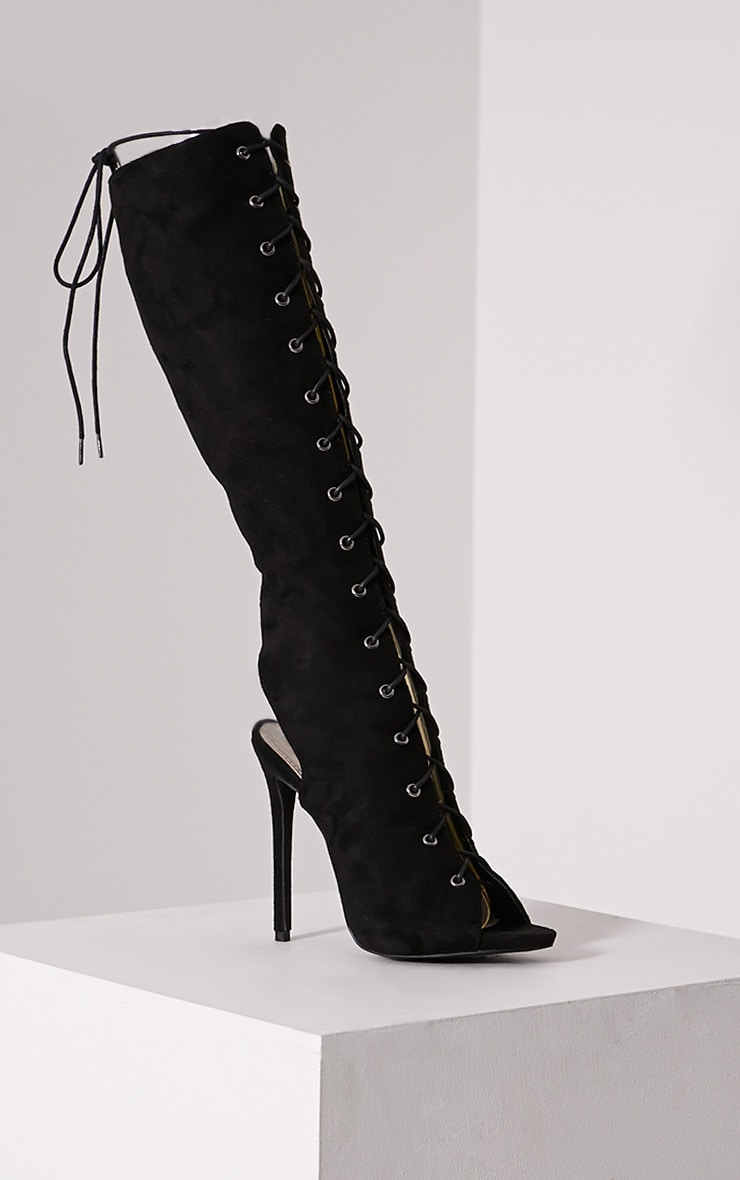 Sharon Black Lace Up Knee High Boots 3