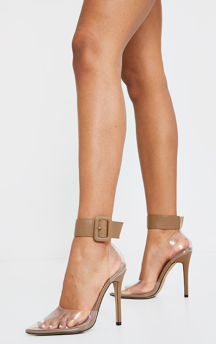 Sand PU Cuff Detail Clear Court Shoes 1
