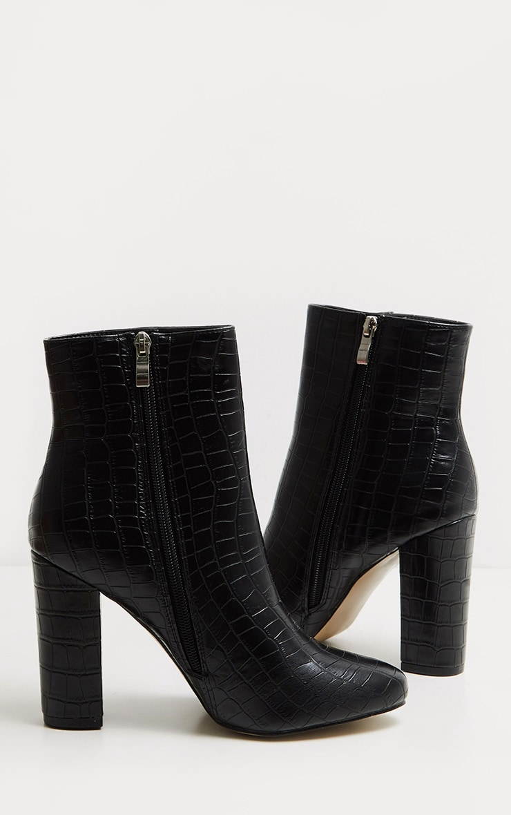 Black Faux Croc Ankle Boot 3