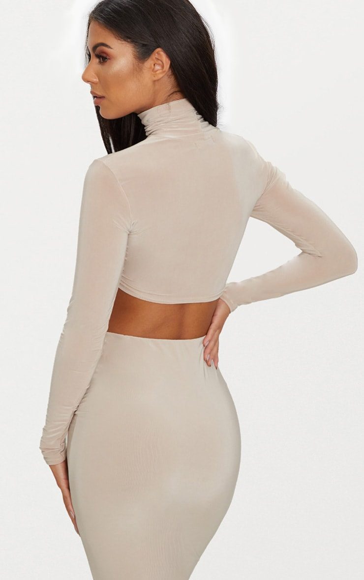 Taupe Slinky Roll Neck Tie Front Crop Top  2