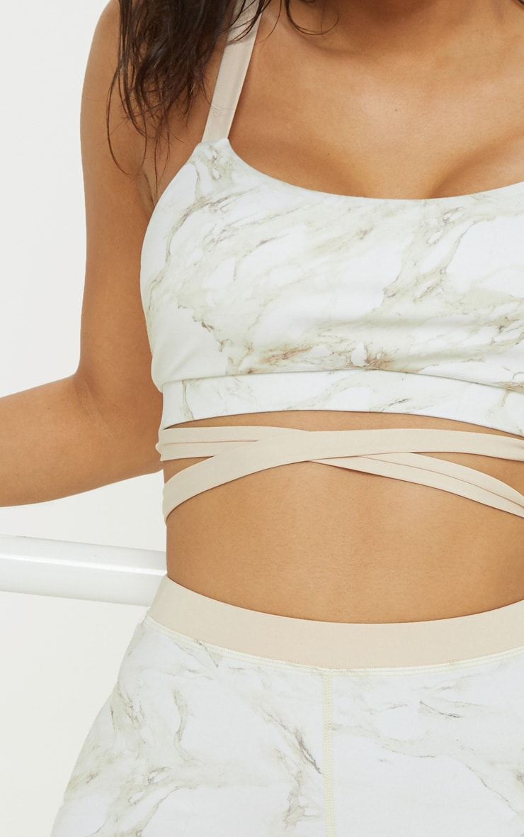 Stone Marble Contrast Strap Gym Bralet 5