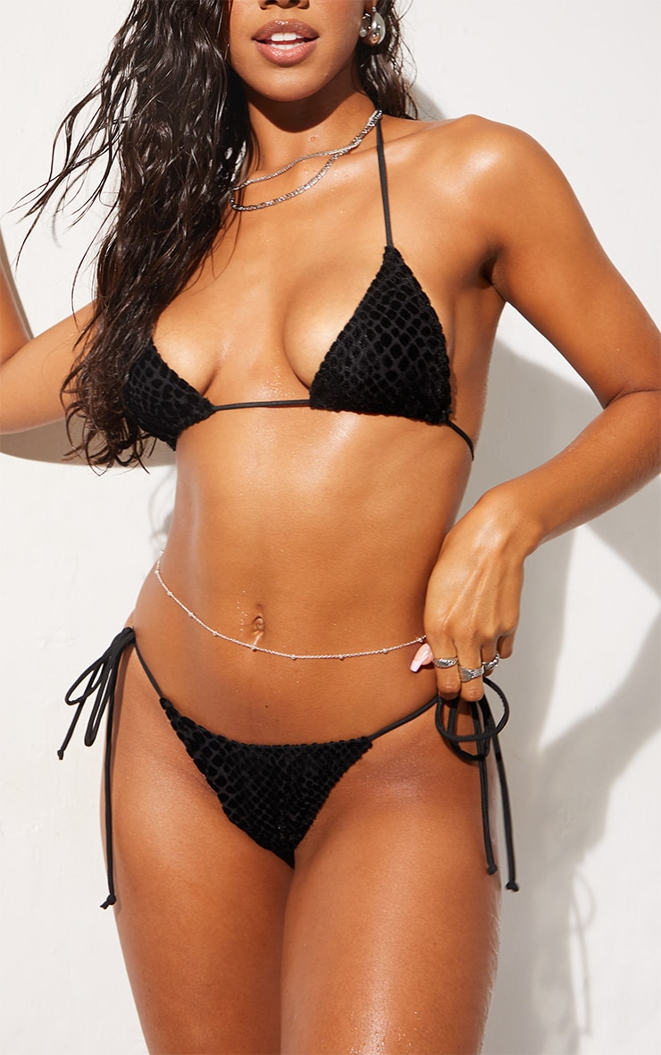Black Devore Tie Side Bikini Bottoms 1