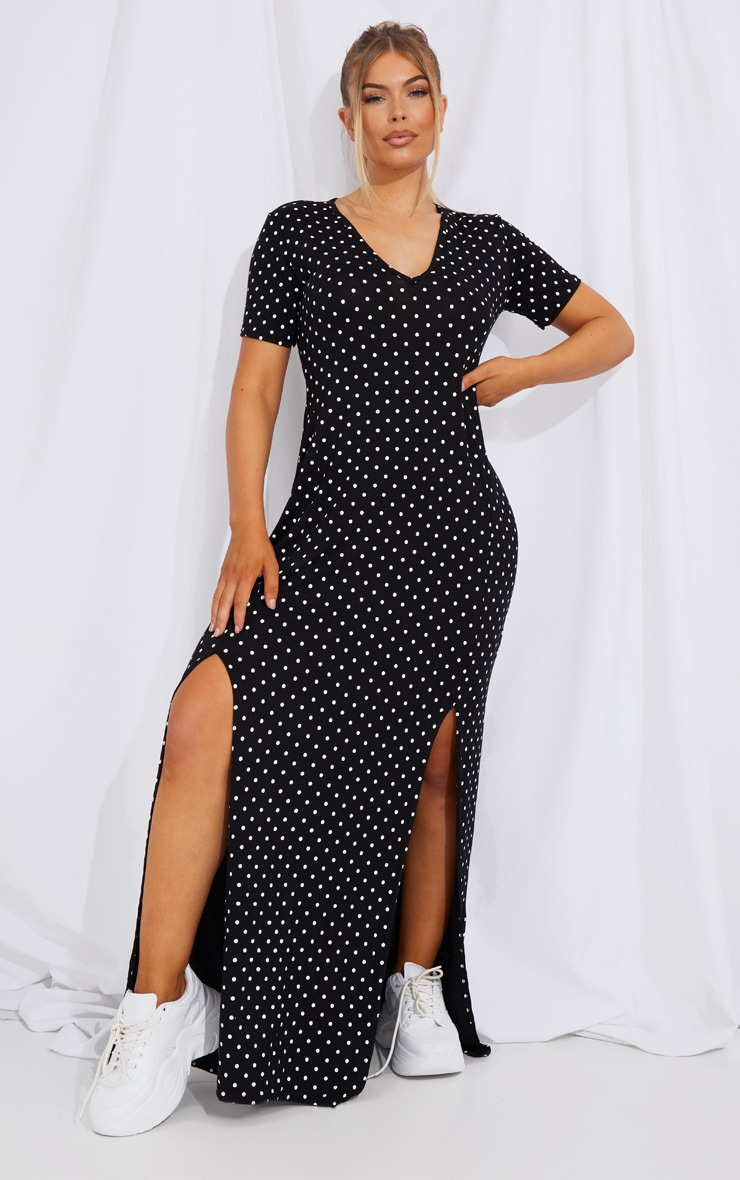 Black Polka Dot Print Split Detail Maxi Dress 3