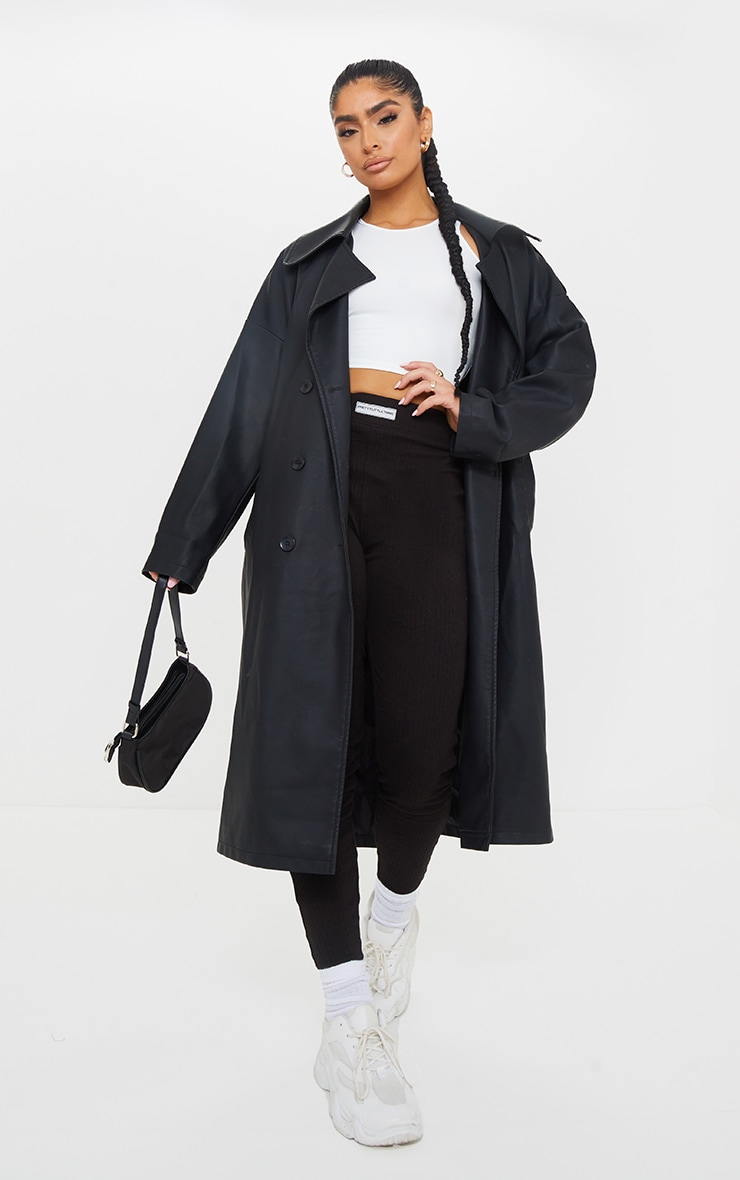 Black Faux Leather Drop Arm Midi Trench 3
