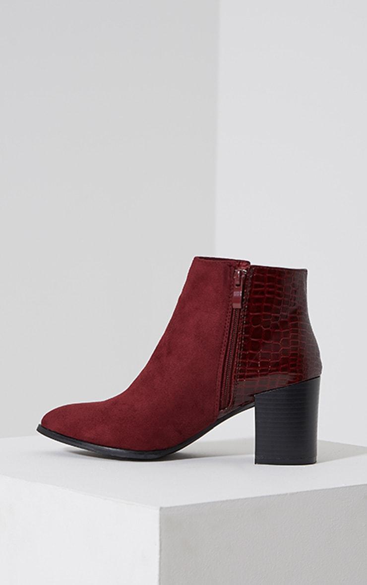 Kimi Oxblood Croc Patent Heel Suede Boots 4
