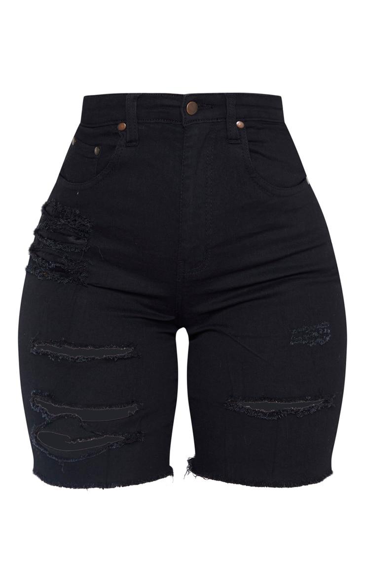 Shape Black Distressed Longline Denim Shorts 3