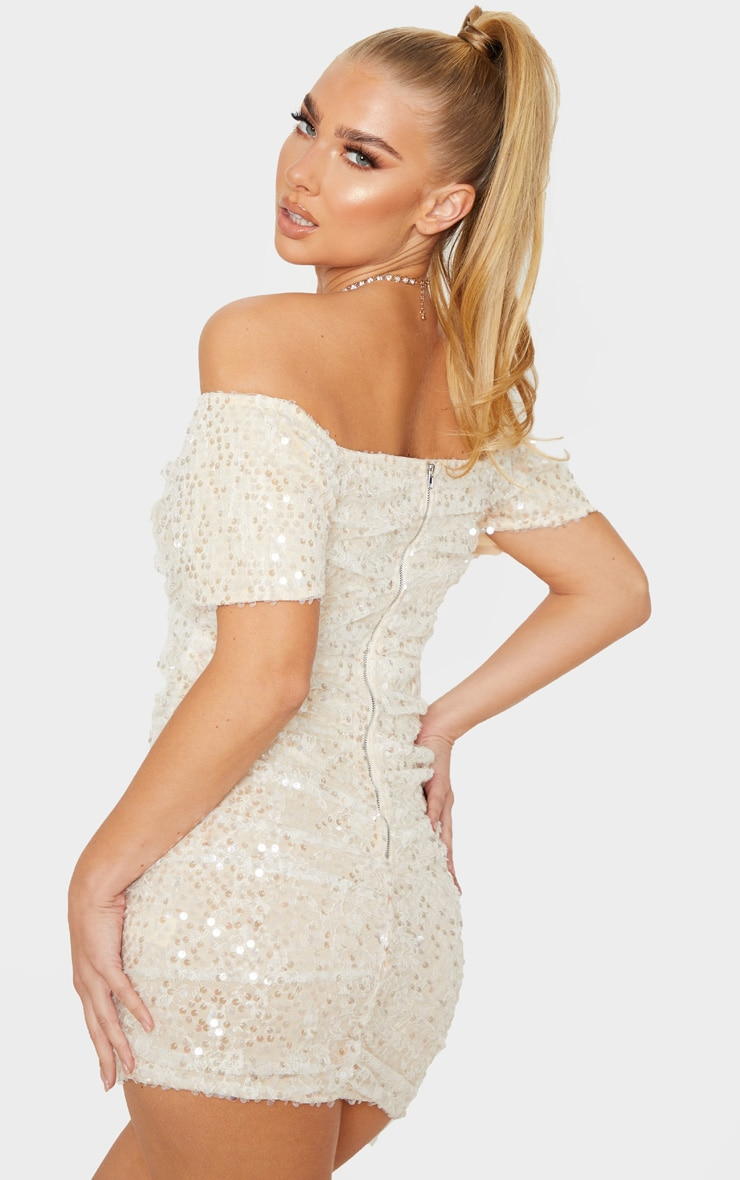 Nude Sequin Lace Detail Ruched Bardot Bodycon Dress 2