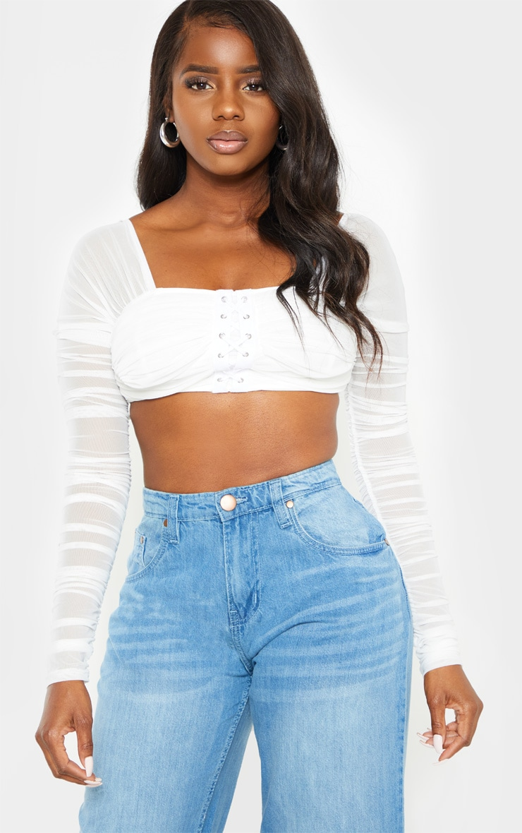 Petite White Ruched Lace Up Detail Mesh Crop Top 1