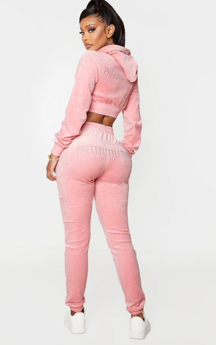 PRETTYLITTLETHING Shape Baby Pink Velour Skinny Joggers 1