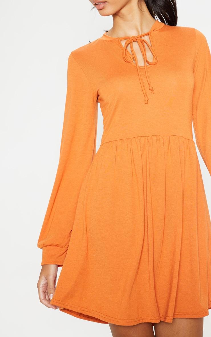 Burnt Orange Tie Neck Jersey Tea Dress 5