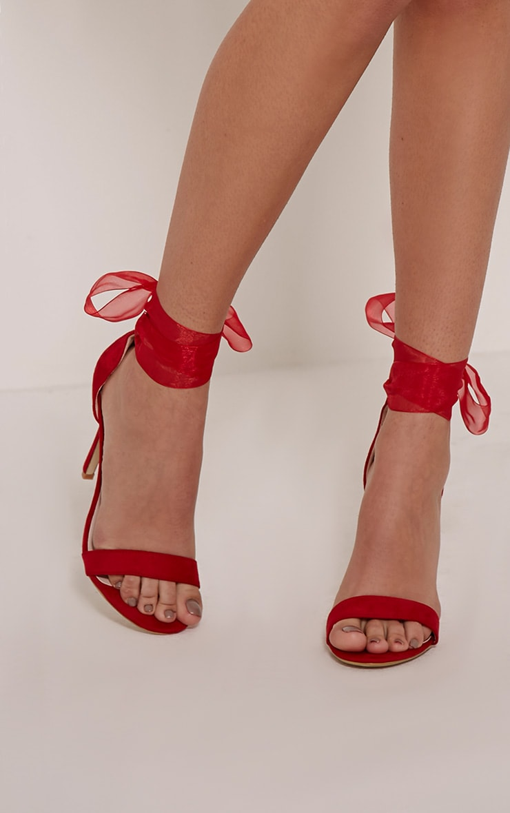 Lauren Red Faux Suede Ribbon Tie Sandals 1