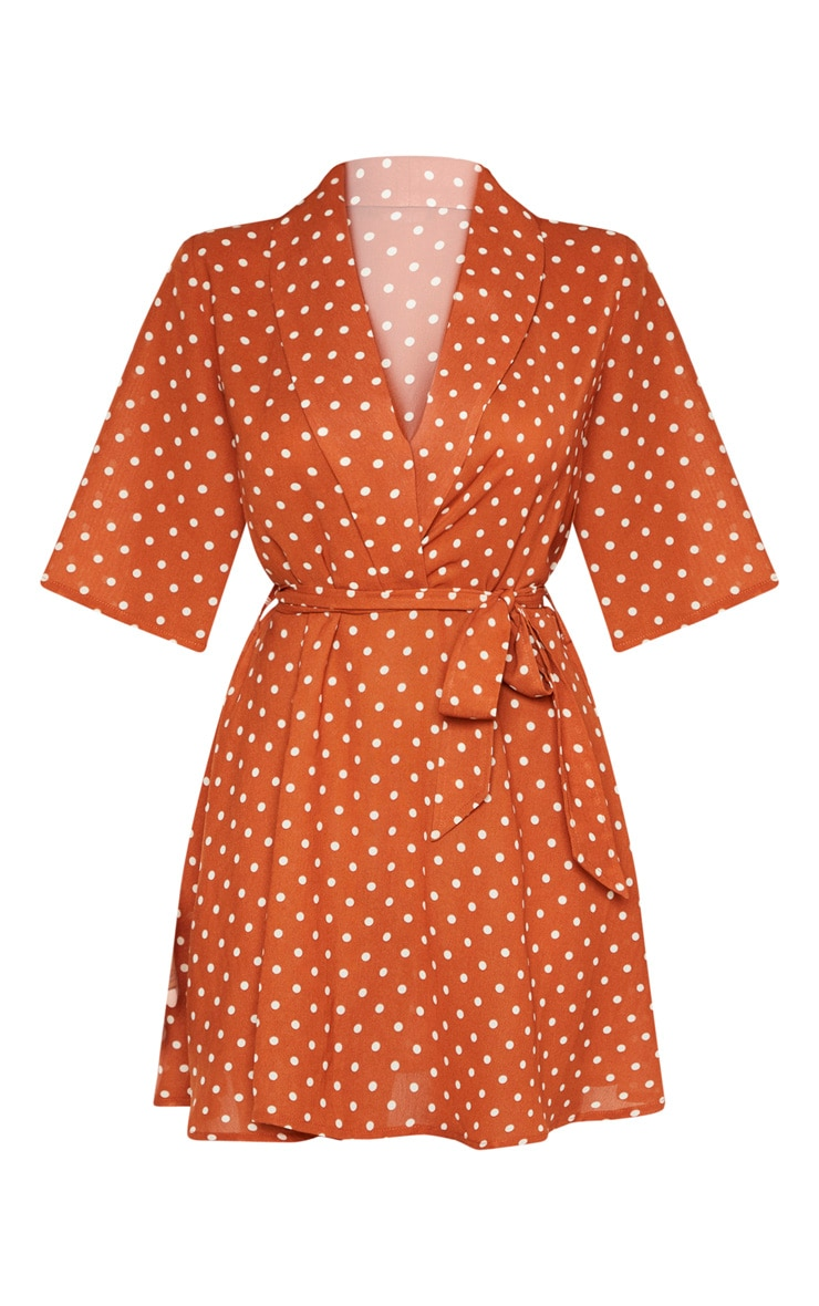 Petite Terracotta Polka Dot Tea Dress 3