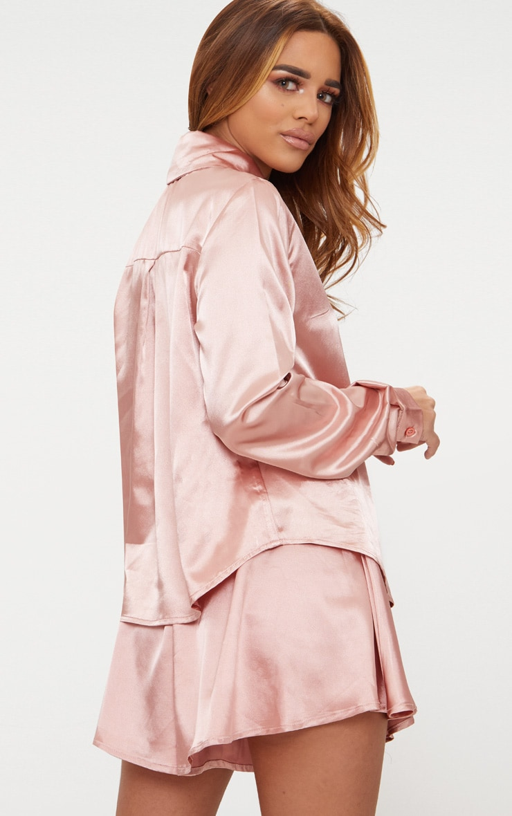 Petite Dusty Pink Satin Shirt 2