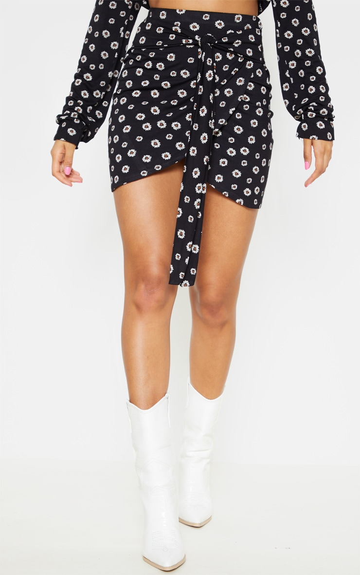 Black Daisy Print Jersey Tie Side Split Mini Skirt  2