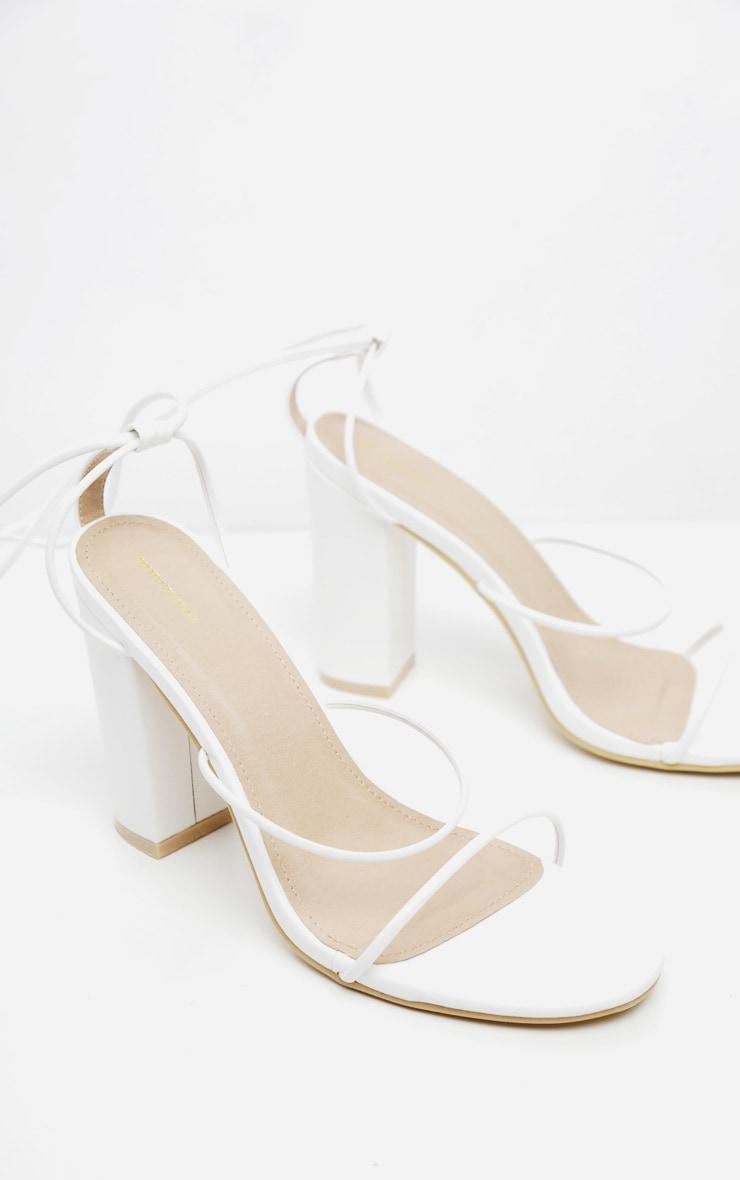 White Delicate Strap Block Heel Ankle Tie Sandal 4