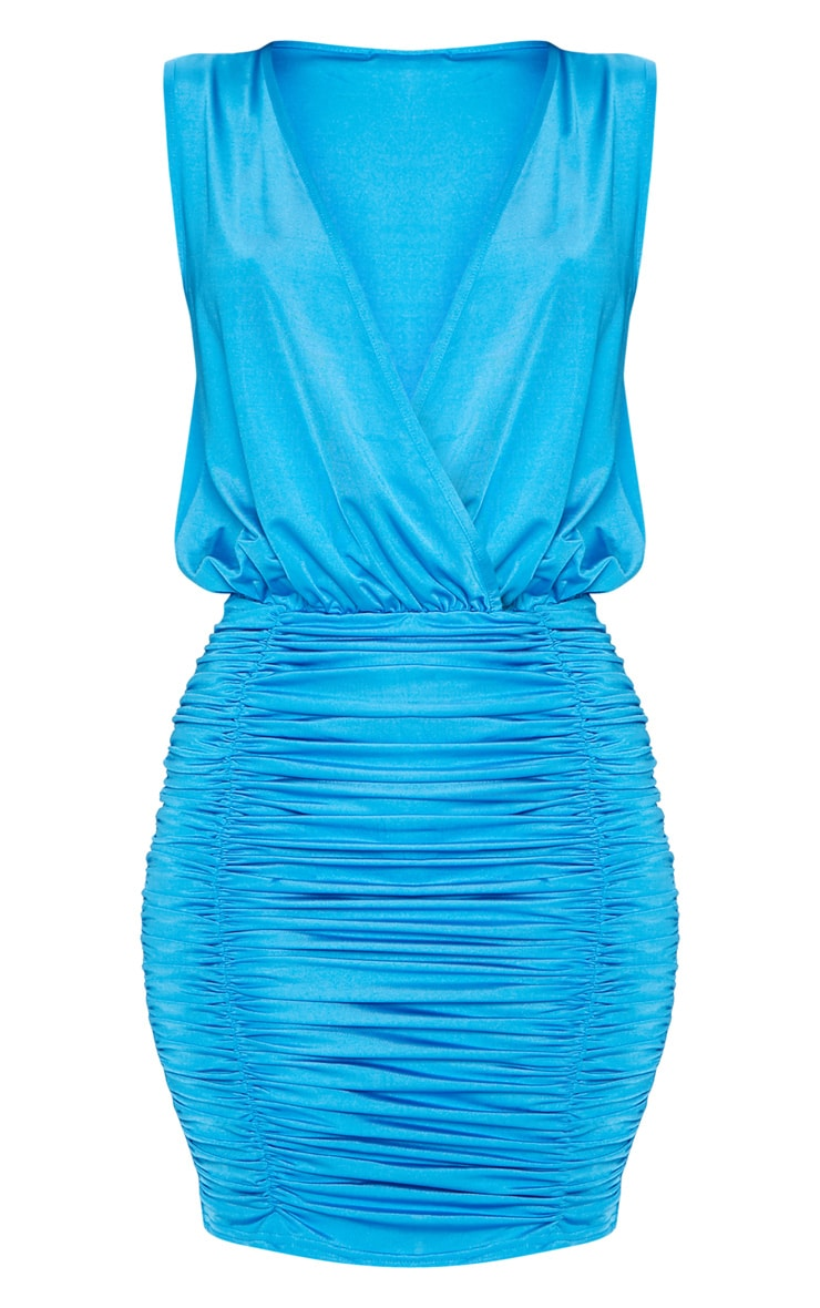 Bright Blue Slinky Plunge Ruched Front Bodycon Dress 3