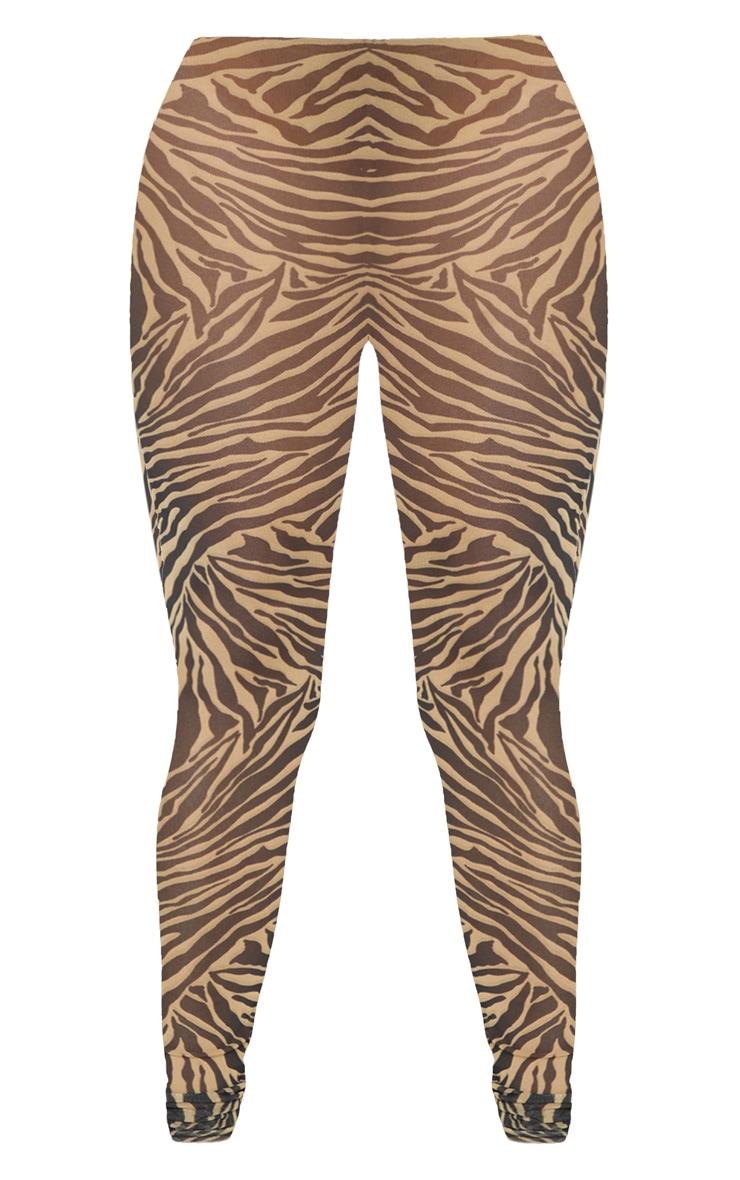 Stone Zebra Print Mesh Legging 3