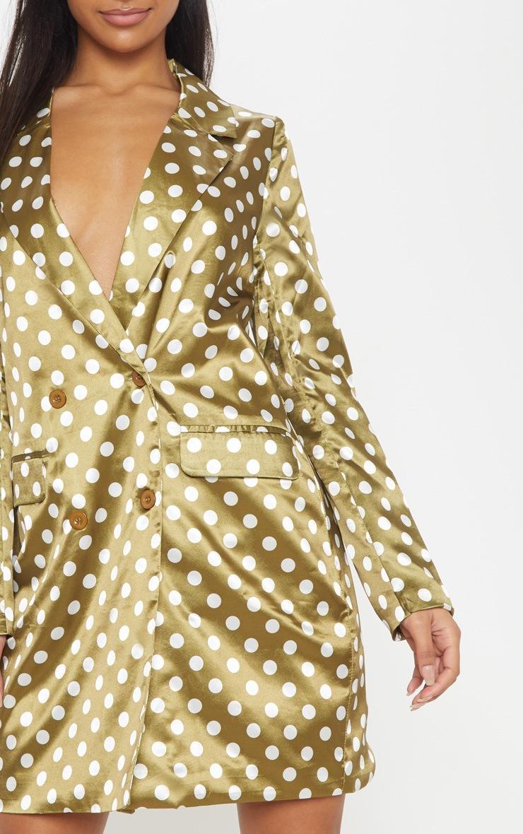 Khaki Polka Dot Satin Blazer Dress 5