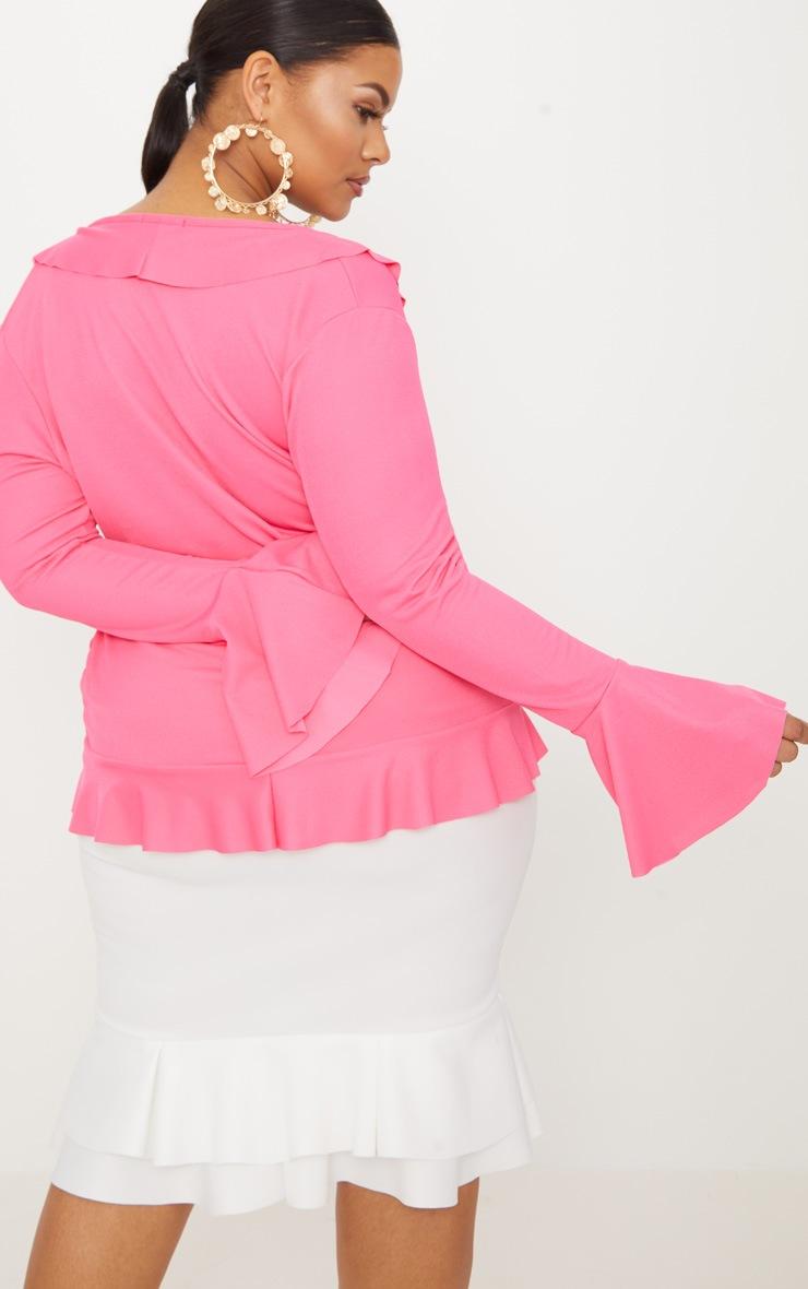Plus Hot Pink Long Sleeve Wrap Detail Top 2
