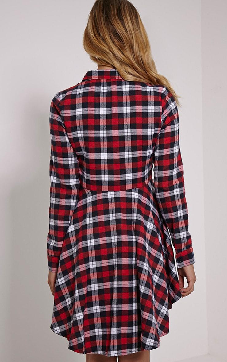 Bobbi Red Checked Skater Shirt Dress 2