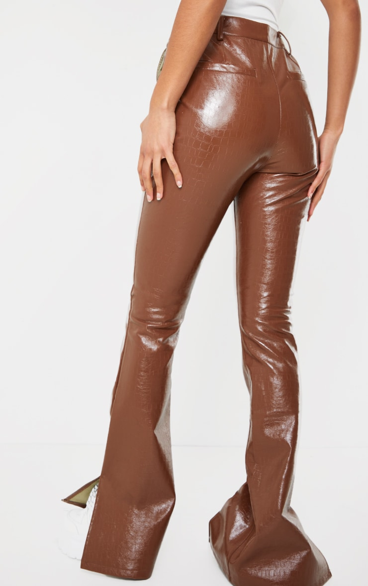 Chocolate Croc Faux leather Flared Trousers 3