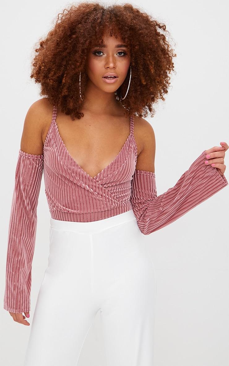Blush Contrast Velvet Cold Shoulder Thong Bodysuit  2