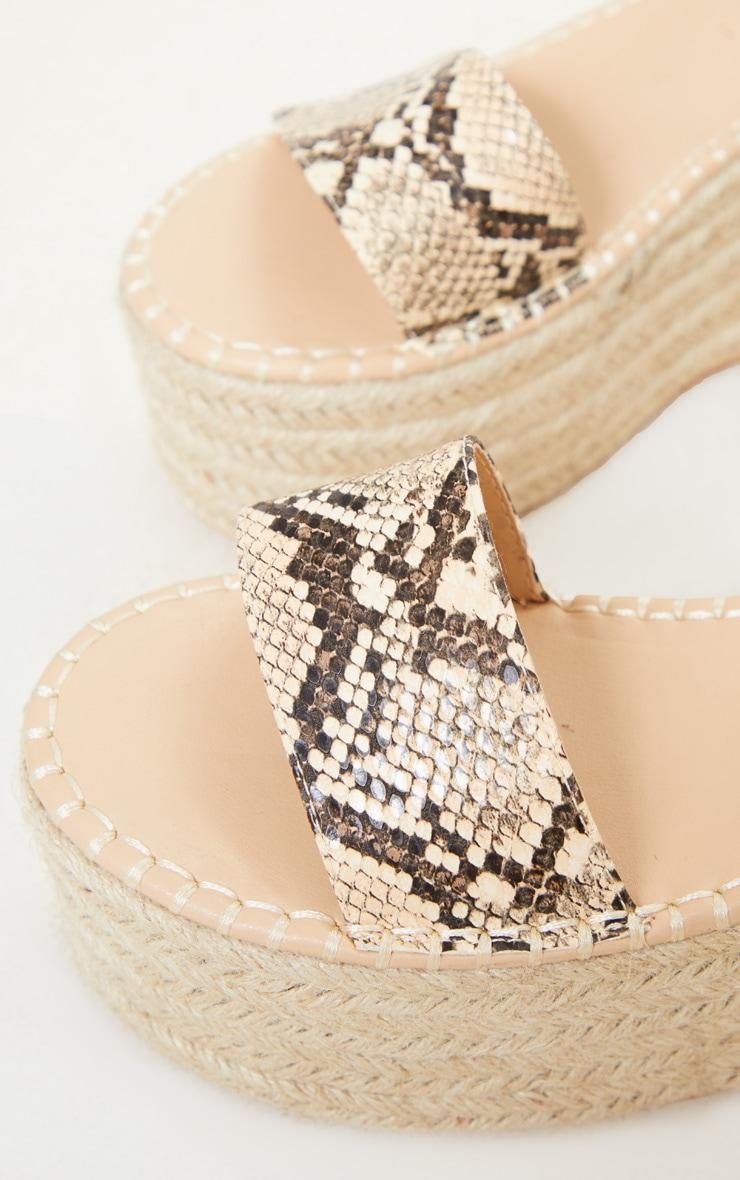 Snake Print Buckle Ankle Strap Flatform Espadrille Sandal 3
