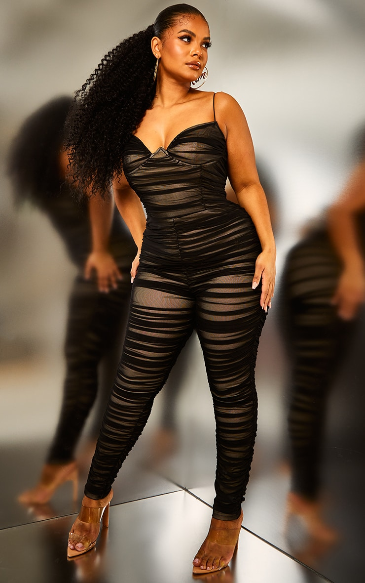 Plus Black Ruched Mesh Underwire Jumpsuit
