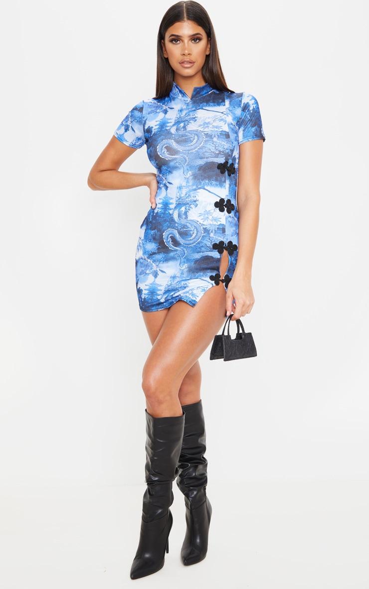 Blue Dragon Print High Neck Short Sleeve Oriental Bodycon Dress 4