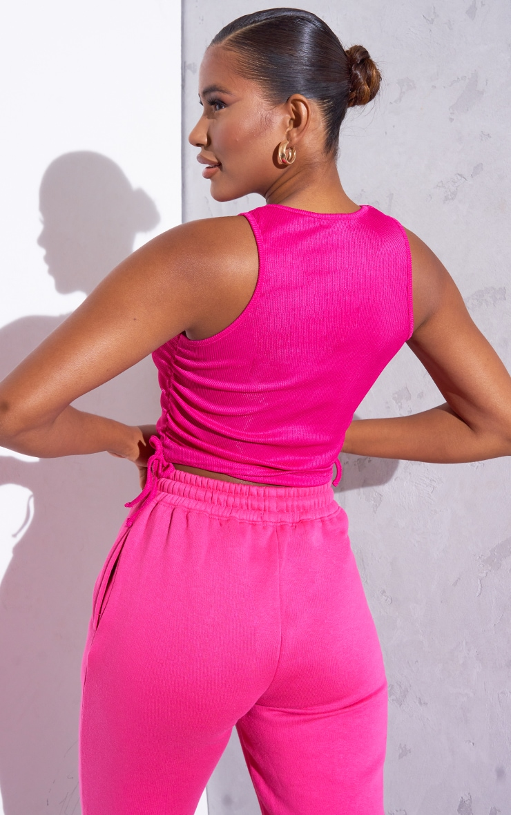 RENEW Pink Rib Ruched Side Racer Top 2
