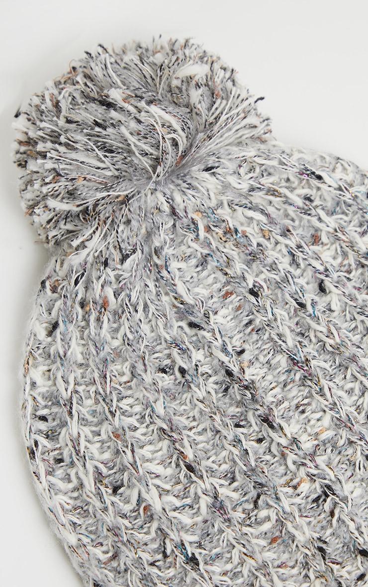 Grey Sparkle Rib Beanie Yarn Pom 3