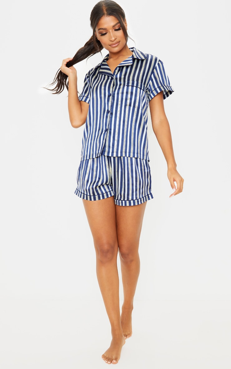 Navy Stripe Print Short Satin Pajama Set 4