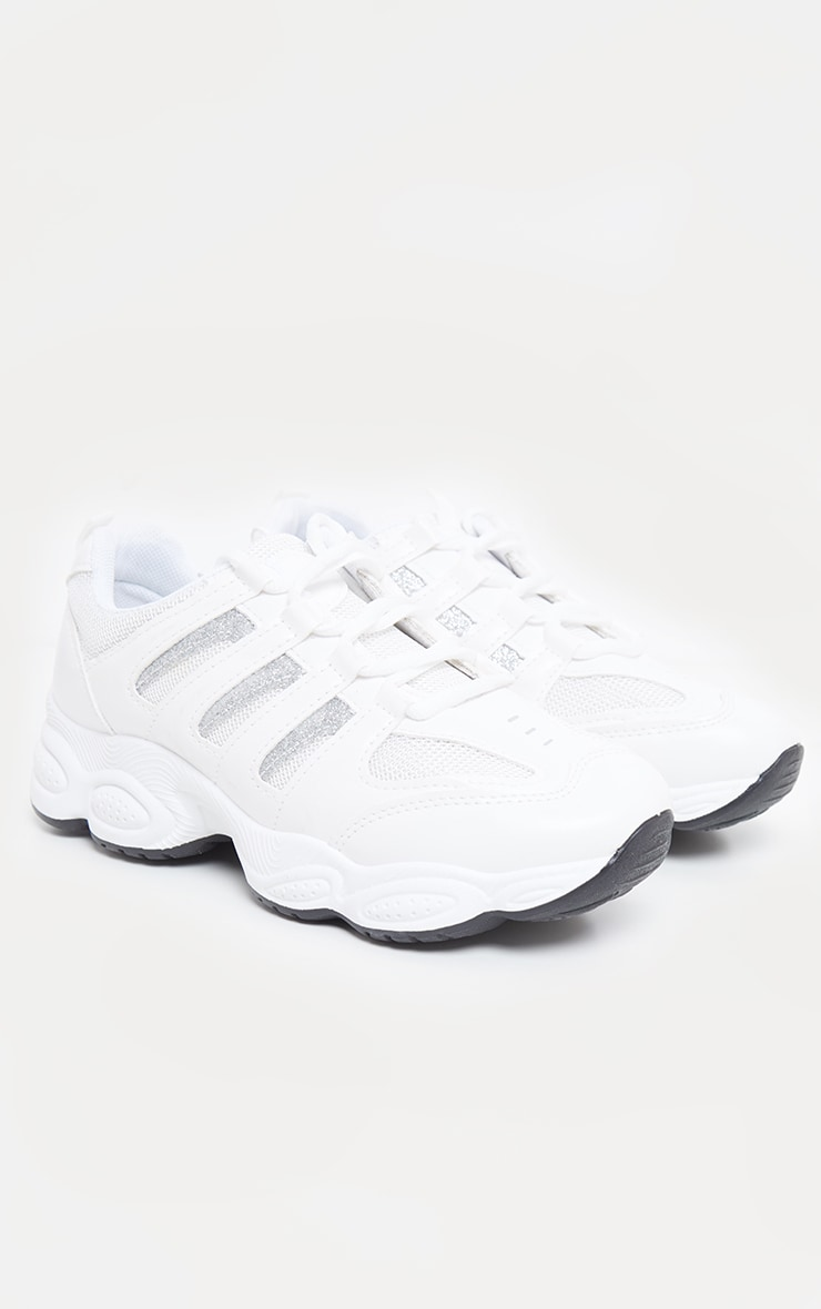 White Cut Out Panel Lace Up Trainer 4