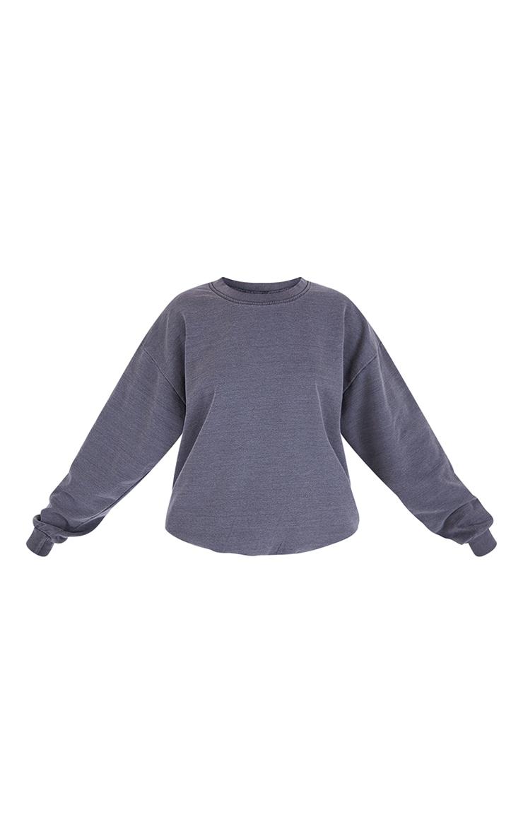 Recycled Charcoal Grey Washed Oversized Sweatshirt 5