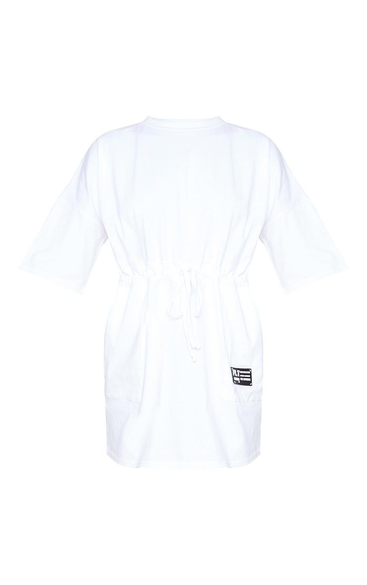 PRETTYLITTLETHING White Drawstring Waist T Shirt Dress 5