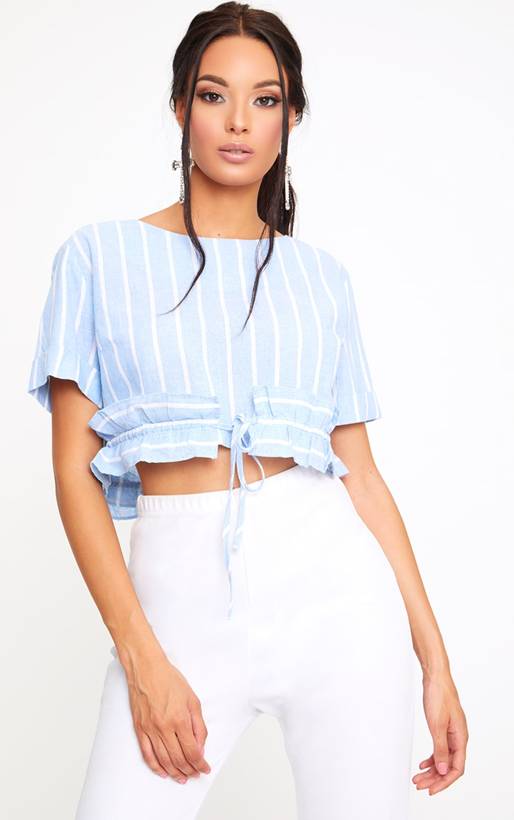 Blue Stripe Drawstring Frill Crop Top  1
