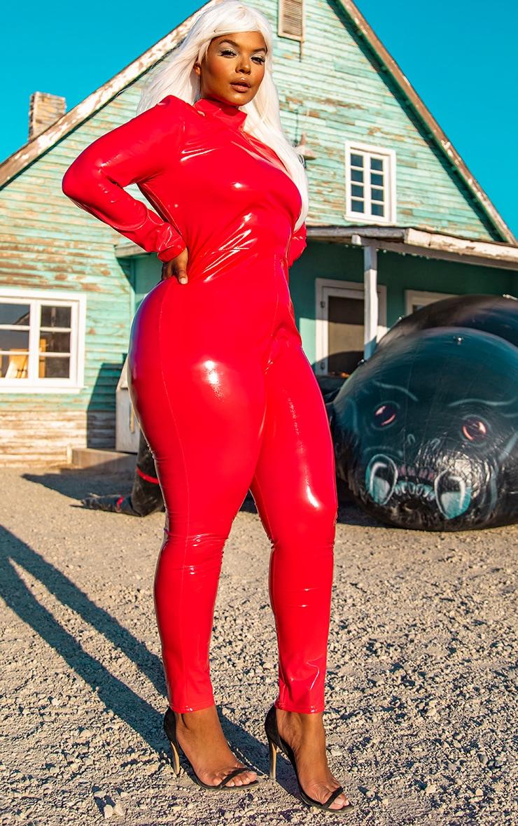 Plus Red Backless Vinyl Long Sleeve Unitard  4