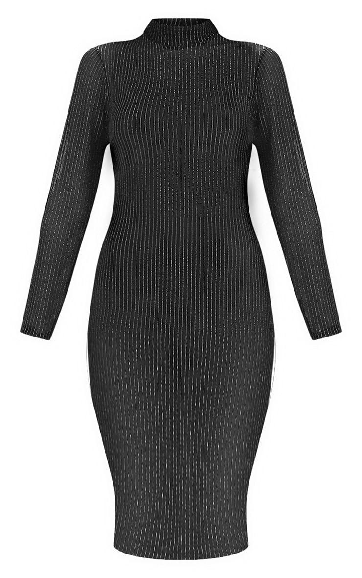 Black High Neck Long Sleeve Glitter Lurex Bodycon Dress 3