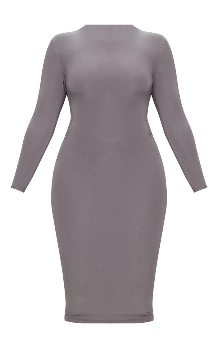 Plus Charcoal Grey Second Skin Slinky High Neck Midaxi Dress 3