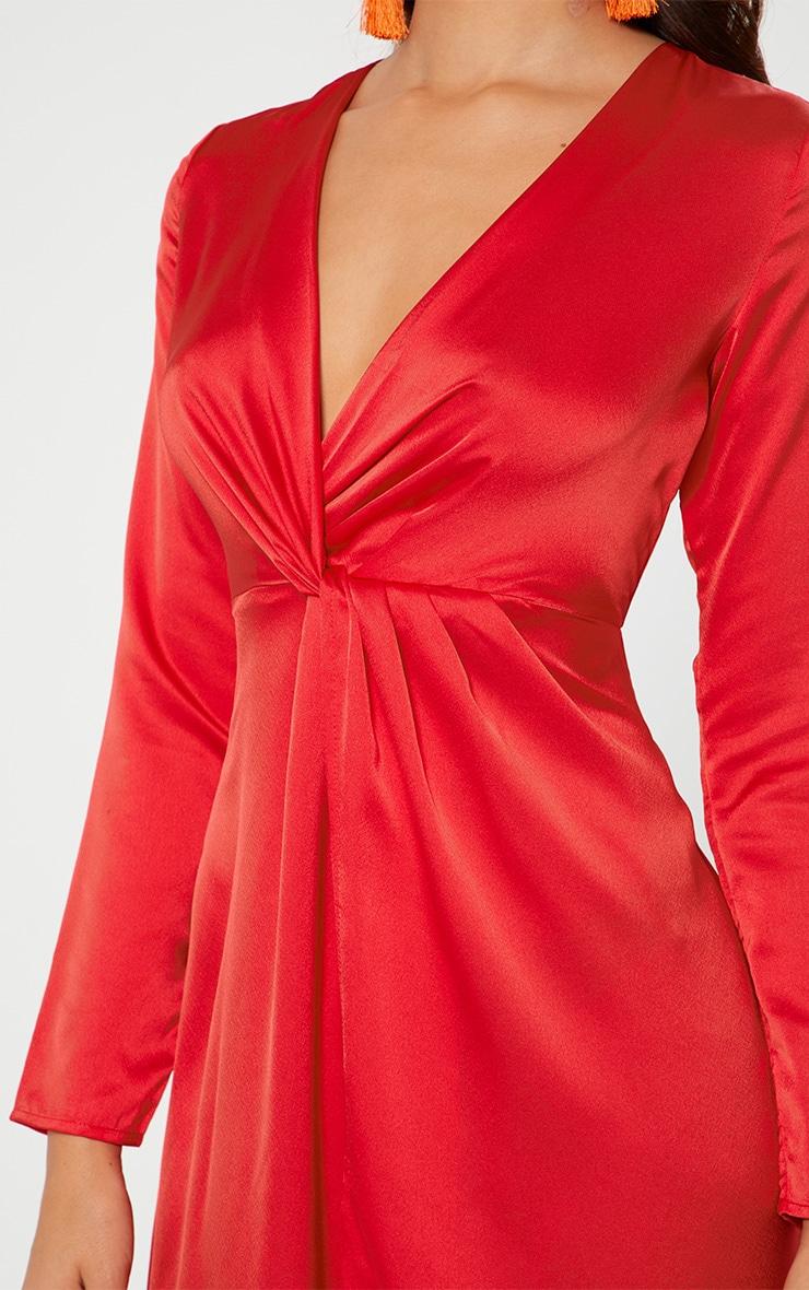 Red Satin Twist Front Maxi Dress  5
