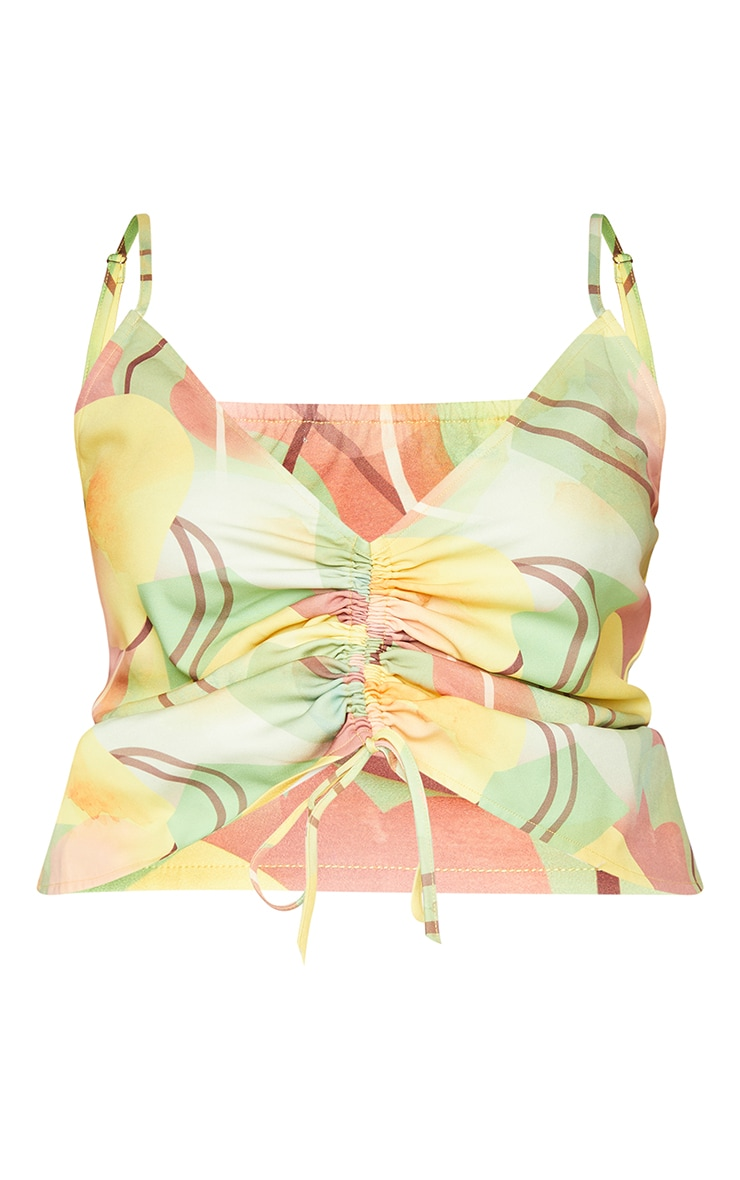 Plus Yellow Geo Print Adjustable Ruching Front Cami Top 5