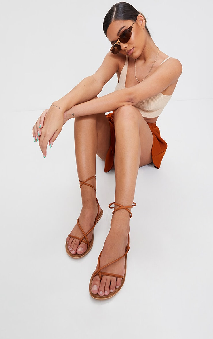 Tan WIDE FIT Real Leather Toe Loop Lace Up  Sandals 1