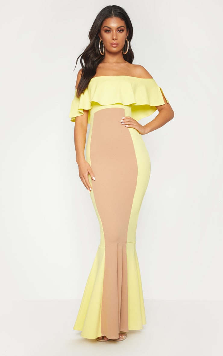 Yellow Bardot Panel Detail Contrast Fishtail Maxi Dress 1