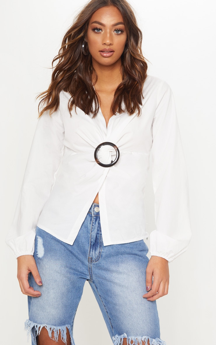 White Woven Belt Detail Plunge Top