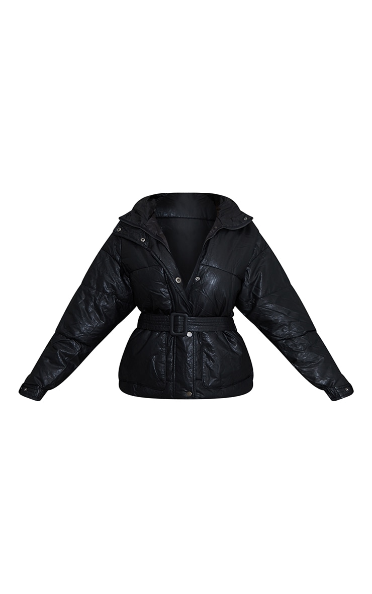 Black Faux Leather Oversized Belted Hooded Puffer 5