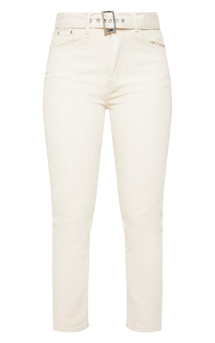 Ecru Belted High Waist Jeans  3