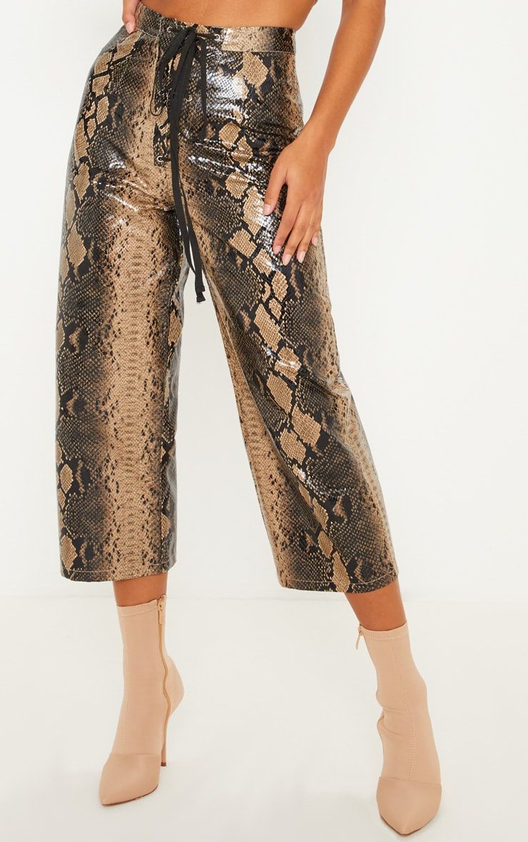 Stone Faux Leather Snakeskin Lace Up Front Culotte 2
